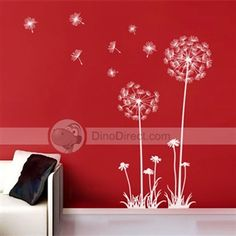 """Dandelion wall decal for nursery with saying, """"may all your dreams come true"""""""