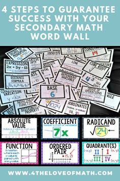 Word walls can really help maximize student success in the math classroom IF you- Math Wall, Math Word Walls, Math Classroom Decorations, Classroom Ideas, Word Wall Displays, Trendy Words, Middle School Classroom, High School, Math Vocabulary