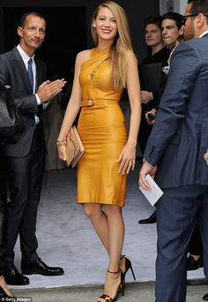 Blake Lively at Gucci at Milan Fashion Week. Not a good color for me but I love it on her
