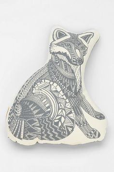 The Rise And Fall Fox Pillow. This would go so well with the zig zag bedspread! All that I want is a nice and big bed with a bunch of really cool pillows on it. It'd be so cozy! #UrbanOutfitters #SmallSpace