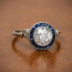 1.55ct Diamond and Sapphire Halo by EstateDiamondJewelry on Etsy