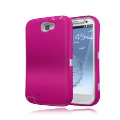 ZeroLemon Samsung Galaxy Note 2 ZeroShock Rugged Metal Grey / Sweet Pink Case + Holster/KickStand for Original Slim & 9300mAh Extended Battery Case ***Battery NOT Included*** (Compatible with Samsung Galaxy Note II GT-N7100, T-Mobile Galaxy Note II SGH-T889, Sprint Galaxy Note 2 SPH-L900, At&t Samsung Galaxy Note II SGH-i317, and Verizon SCH-i605) Note 2-R-Grey/Pink