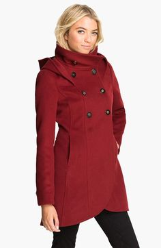 Andie black long wool coat with fur hood