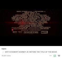 Because he IS the movie. Avengers: Age of Ultron | RDJ