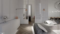 d & # 039 modern renovation, a Haussmann apartment, new home agency - Side House
