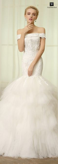 Romantic tulle off-the-shoulder neckline mermaid wedding dresses with lace appliques(WWD10812)