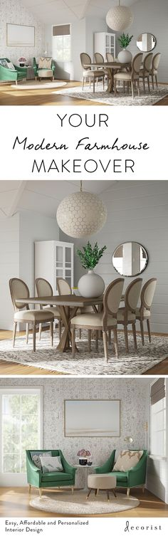 See 4 different dining room projects done via online interior design Coastal Living Rooms, Home Living Room, Furniture Styles, Home Furniture, Home Upgrades, Small House Plans, Dining Room Design, Decoration, Sweet Home