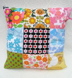 Cushion  Pillow Patchwork Quilted Cover in by littleteawagon, £13.50