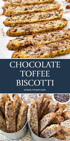 Cookie Desserts, Just Desserts, Cookie Recipes, Dessert Recipes, Best Biscotti Recipe, Italian Biscotti Recipe, Chocolate Biscotti Recipe, Biscotti Cookies, Chocolate Toffee