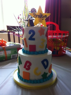 Brooklyn's preschool graduation cake! Made by CakeChristine.