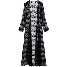 We Are Leone Black Chevron Velvet Duster Coat ($530) ❤ liked on Polyvore