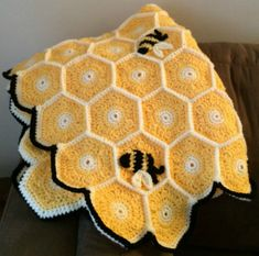 Bees and honeycomb crocheted blanket.