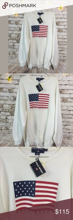 Vtg polo Ralph layer sport XXL USA flag sweatshirt Rare style! Retails for $125. With original tags attached yet some minor stains in condition!! Bundle & save or ask for discounts, lots of clothes up, we add new inventory everyday, make sure to come back and let us know for additional discount Polo By Ralph Lauren Tops Sweatshirts & Hoodies