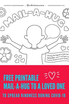With this free printable coloring sheet and card, kids can send a hug in the mail to someone they are missing during Covid-19! A great activity for kids during home-schooling and at home learning to promote kindness, gratitude and social emotional learning. #kidsactivities #kidscrafts #coloringpages #freeprintable #homeschool #socialemotionallearning