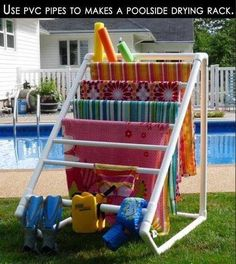 """""""PVC Pipe Poolside Drying Rack"""" Even if you don't have a swimming pool you can use it in your home; instead of towels getting thrown on the ground they can be placed neatly in a defined space to dry out."""