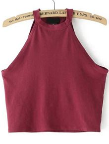 Shop Halter Crop Wine Red Tank Top at ROMWE, discover more fashion styles online. Red Cami Tops, Tank Tops, Red Vest, Heart Eyes, Romwe, Me Too Shoes, Style Inspiration, My Style, Stylish