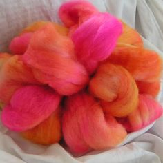 Superfine BFL and Tussah Silk Top TEQUILA SUNRISE by wooliebullie, $18.00