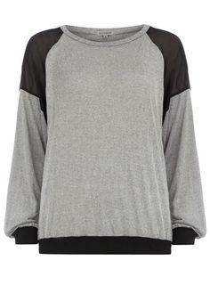 Grey sheer insert sweater