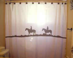 Cowgirl Shower Curtain Horse Western theme by CustomShowerCurtains