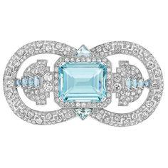 Cartier Aquamarine and Diamond  brooch ca. 1935