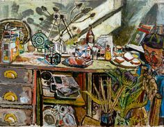 John Bratby - David, in the Kitchen, with Thistle