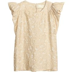H&M Top with puff sleeves (£9) ❤ liked on Polyvore featuring tops, shirts, light beige, woven top, h&m tops, double layer top, puffy sleeve shirt and double layer shirt