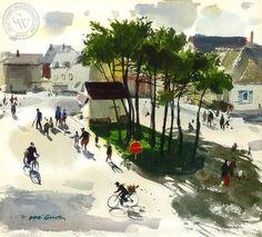 Hardie Gramatky - Coutanceville, France, 1976, California art, original California watercolor art for sale, fine art print for sale, giclee watercolor print - CaliforniaWatercolor.com