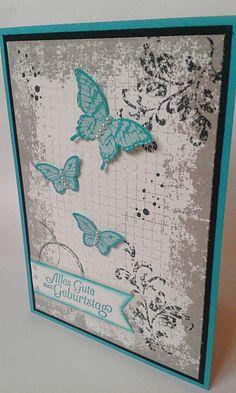 """Als ich das Stempelset """"Timeless Textures"""" zum ersten Mal im Frühjahr-/Sommerkatalog von Stampin' Up! sah, wusste ich sofort, dass ich es haben MUSS. Für mich ein Must-Have, gena… Get Well Cards, Mini Albums, Vintage Cards, Butterfly Cards, Potpourri, Cards For Friends, Cool Cards, Stampin Up Cards, Creative Cards"""
