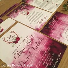 Gorgeous rustic, watercolour wedding invites with antler crest in berry colours by Lorna Boyer Design