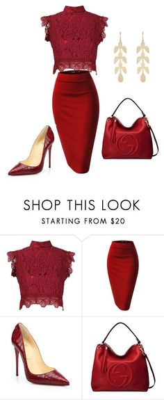 """Untitled #986"" by cookmary ❤ liked on Polyvore featuring Martha Medeiros, Christian Louboutin, Gucci and Irene Neuwirth"