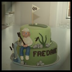 Birthday cake to my brother who likes golf and fishing
