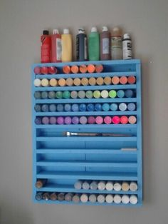 Acrylic paint storage made out of pallets