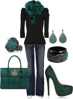 black and dark teal