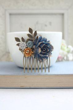 Navy Blue; Dusty Gold; Metallic Orange; Light Blue; Brass; Rhinestones; Hair Comb