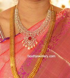 Diamond Necklace and Kasu Haram photo Indian Jewellery Design, Indian Jewelry, Jewelry Design, Fashion Jewellery, Ethnic Jewelry, Women's Fashion, Gold Jewelry Simple, Beaded Jewelry, Diamond Jewelry