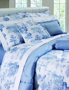Villagio - estamparia no estilo Toile de Jouy traz aconchego ao ambiente. O acabamento em ponto ajour e detalhe de bordo branco contrastando deixa o jogo de cama mais elegante.