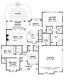 Floor Plans AFLFPW76413 - 1 Story Craftsman Home with 3 Bedrooms, 2 Bathrooms and 2,234 total Square Feet
