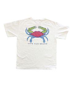White Preppy Crab Short-Sleeve Pocket Tee - Unisex