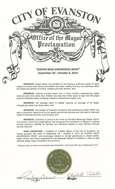 Evanston, IL - Mayoral proclamation recognizing Diaper Need Awareness Week (Sept. 28 - Oct. 4, 2015) #DiaperNeed www.diaperneed.org