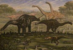 Diplodocus, Ornitholestes, young Saurophaganax by ABelov2014.deviantart.com on @DeviantArt