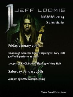 Jeff Loomis NAMM 2013 Schedule