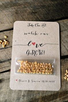 Wedding favor card with seed packet.