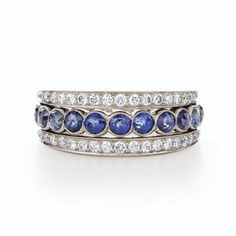 Flip ring with sapphires and rose cut diamonds from the Kwiat Vintage Collection in 18K white gold