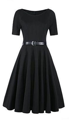 5fab918fe0 Elf Queen Womens Elegant Vintage Cocktail Wedding Evening Party Short  Sleeve Dress US Size M Black