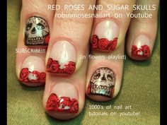 Nail Art | Red Rose Nails | Roses and Sugar Skull Nail Design - http://www.nailtech6.com/nail-art-red-rose-nails-roses-and-sugar-skull-nail-design/
