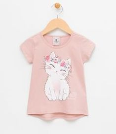 Blusa Infantil com Estampa Gato - Tam 1 a 4 Fashion Kids, Baby Girl Fashion, Toddler Outfits, Kids Outfits, Kids Girls Tops, Kids Blouse Designs, Girl Sleeves, Cat Dresses, Tk Maxx