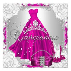 Quinceanera 15th 15 Birthday Pink Dress Shoes 5.25x5.25 Square Paper Invitation Card