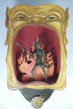 Items similar to Hokum ~ Automaton hand crank mechanical sculpture with removable articulated devil figure on Etsy Marionette, Mexica, Kinetic Art, Alien Art, Arte Horror, Folk, Antique Metal, Vintage Halloween, Halloween Diy