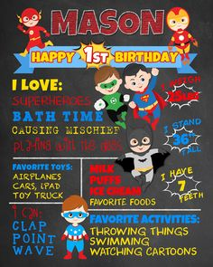 First Birthday Chalkboard Superheroes por FaithFamilyFunDesign