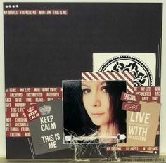 """Teresa Collins: """"Hello My Name Is""""; CTMH fibre and hardware; damask vinyl sticker"""